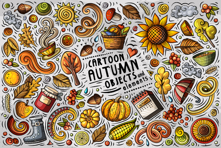 Vector doodle cartoon set of Autumn items, objects and symbols Ilustrace