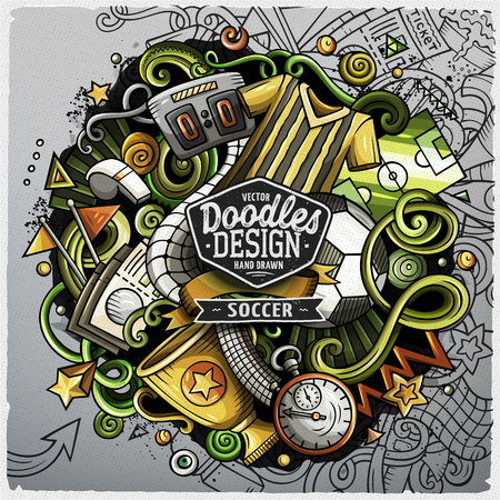 Soccer cartoon vector doodle illustration