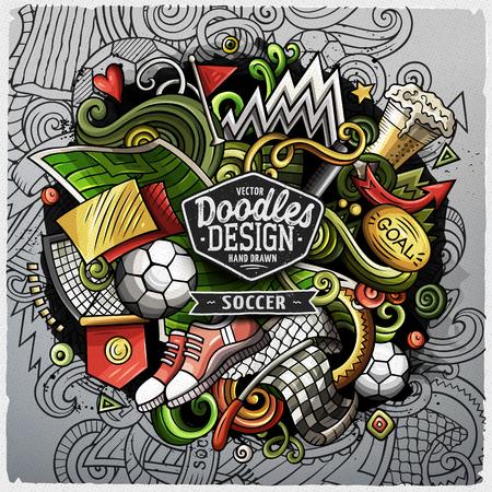 Soccer cartoon vector doodle illustration
