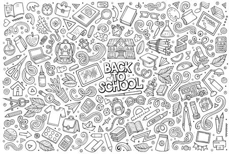 Vektor Gekritzelkarikatursatz von Schulobjekten und -symbolen