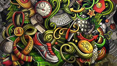 Doodles Soccer graphics illustration Stock Photo