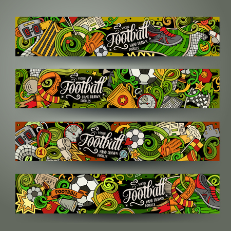 Cartoon vector doodles Football horizontal banners Ilustração