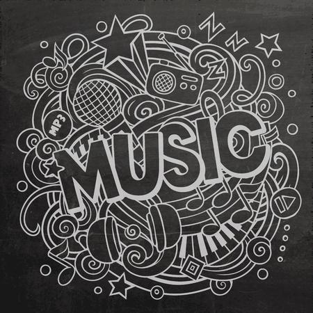 Cartoon cute doodles Music word