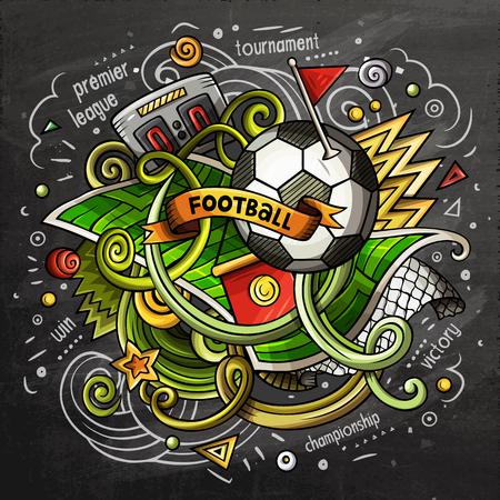 Soccer cartoon vector doodle illustration. Chalkboard design