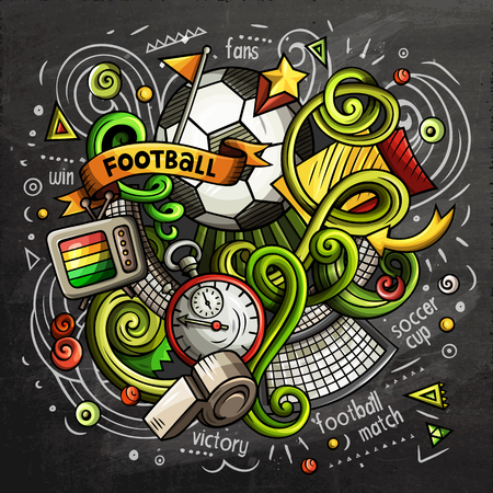 Voetbal cartoon vectorillustratie doodle. Schoolbord ontwerp Vector Illustratie