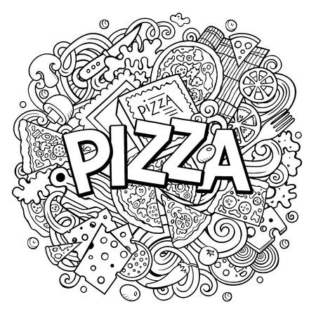 Dibujos animados lindo garabatos palabra pizza