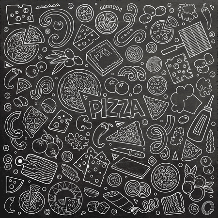 Vector cartoon set of Pizzeria objects and symbols