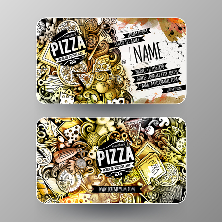 Cartoon graphics watercolor vector doodles Pizza corporate identity 向量圖像