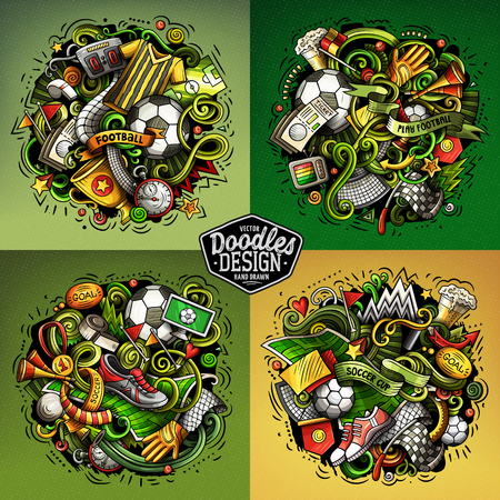 Vector doodles cartoon set of football combinations of objects Stok Fotoğraf - 103748008