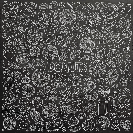 Vector cartoon set of Donuts objects and symbols Imagens