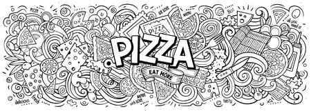 Cartoon cute doodles Pizza word