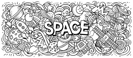 Cartoon cute doodles Space word Illustration