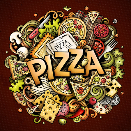 Cartoon cute doodles Pizza word. Colorful illustration