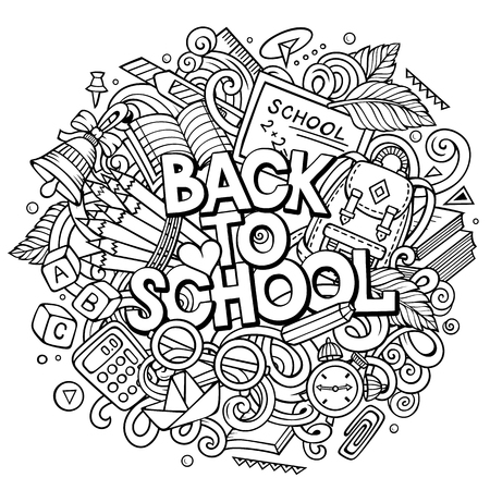 Cartoon cute doodles Back to School phrase Stock Photo