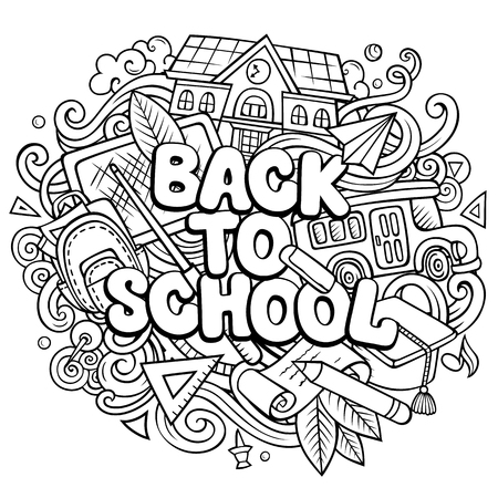 Cartoon cute doodles Back to School phrase  イラスト・ベクター素材
