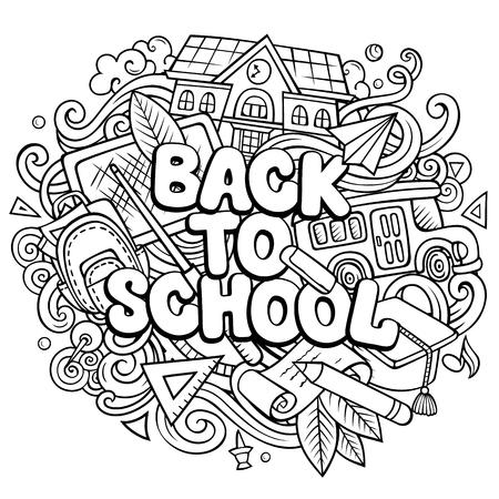 Cartoon schattige doodles terug naar school zin Stockfoto - 103624544