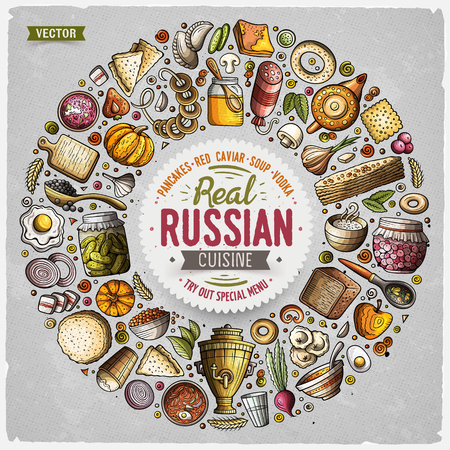 Ensemble de vecteur d'objets de doodle de dessin animé de nourriture russe