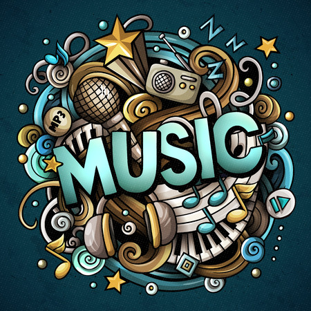 Cartoon cute doodles Music word. Colorful illustration
