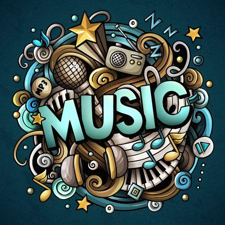 Dibujos animados lindo garabatos Palabra de música. Ilustración colorida