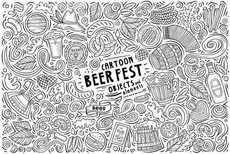 Vector doodle cartoon set of Beer fest objects Çizim