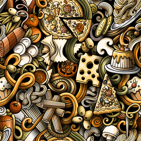 Cartoon cute doodles hand drawn Italian Food seamless pattern Иллюстрация