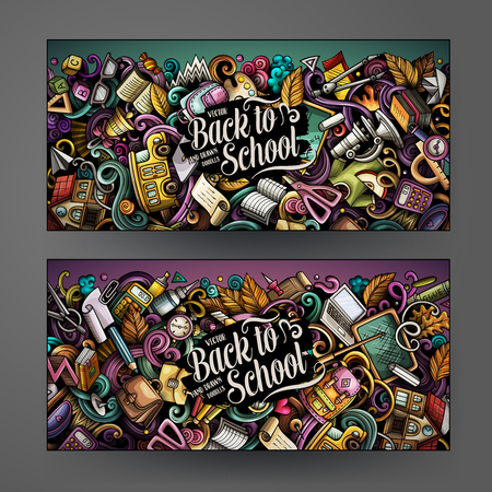 Cartoon cute colorful vector hand drawn doodles School banners