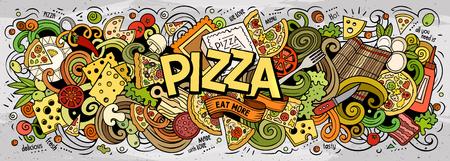 Cartone animato carino scarabocchi Pizza parola