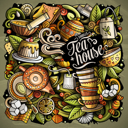 Cartoon vector doodles Tea time illustration Ilustrace