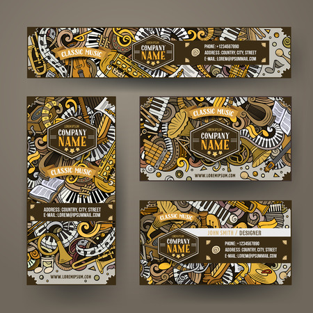 Corporate Identity vector templates set design with doodles Classic music theme.