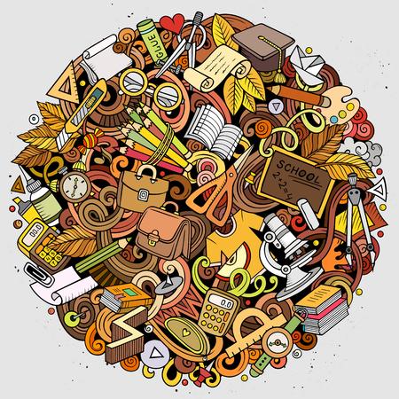 Vector de dibujos animados garabatos Ilustración de la escuela