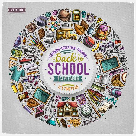 Insieme di oggetti, simboli e oggetti di doodle del fumetto della scuola Vettoriali