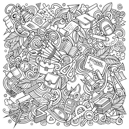 Cartoon vector doodles School illustration