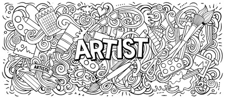 Cartoon cute doodles Artist word Illustration