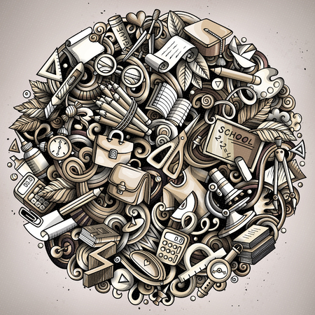 Cartoon vector doodles School round illustration. Monochrome, detailed, with lots of objects background. All objects separate. Bright colors education funny picture Illustration
