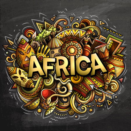 Cartoon cute doodles Africa word. Colorful chalkboard illustration. Background with lots of separate objects. Funny vector artwork