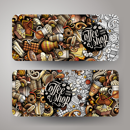 Cartoon cute colorful vector hand drawn doodles Coffee corporate identity. 2 horizontal banners design. Templates set. All objects separate