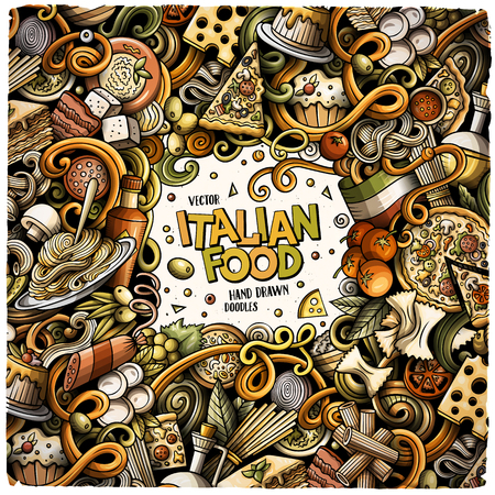 Cartoon vector doodles Italian food frame 向量圖像