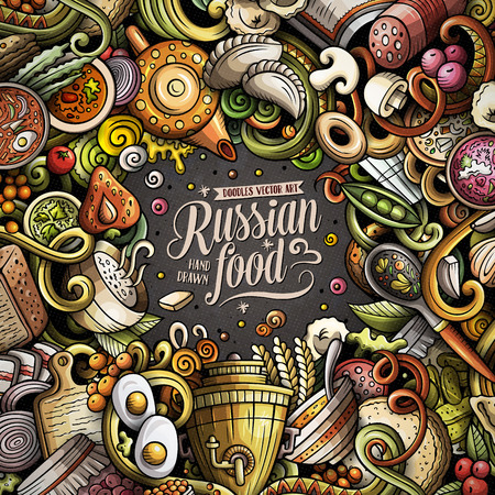 Cartoon vector doodles Russian food frame. Colorful, detailed, with lots of objects background. All objects separate. Bright colors ukrainian cuisine funny border Illustration