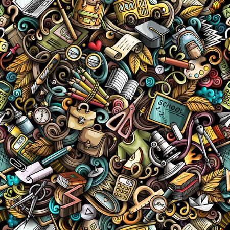 Garabatos lindos dibujos animados dibujados a mano Escuela de patrones sin fisuras. Colorido detallado, con una gran cantidad de objetos de fondo. Ilustración de vector divertido sin fin. Todos los objetos se separan.