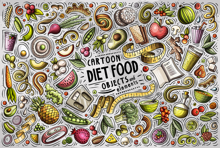 Colorful vector hand drawn doodle cartoon set of Diet food theme items, objects and symbols