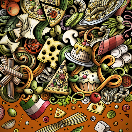 Cartoon vector doodles Italian food frame 矢量图像