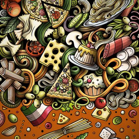 Cartoon vector doodles Italian food frame Illustration