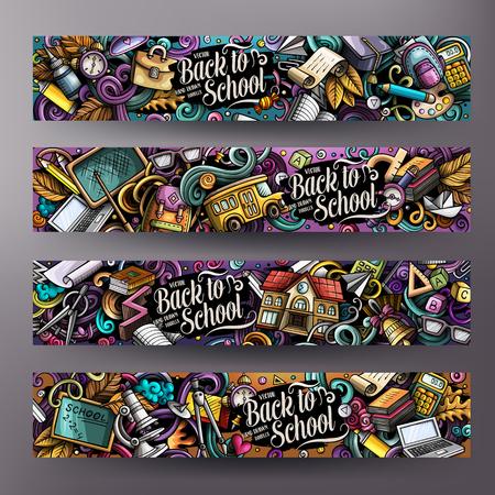 Cartoon carino vettore colorato disegnato a mano scarabocchi scuola identità aziendale. 4 banner orizzontali design. Set di modelli. Tutti gli oggetti sono separati