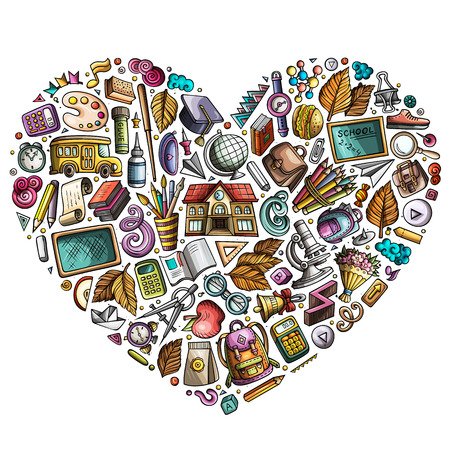 Colorful vector hand drawn set of School cartoon doodle objects, symbols and items. Heart form composition