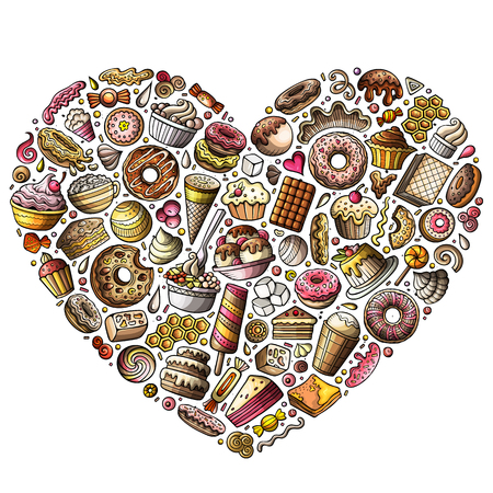 Colorful vector hand drawn set of Sweet food cartoon doodle objects, symbols and items. heart form composition Ilustração
