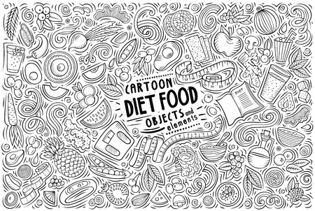 Line art vector hand drawn doodle cartoon set of Diet food theme items, objects and symbols