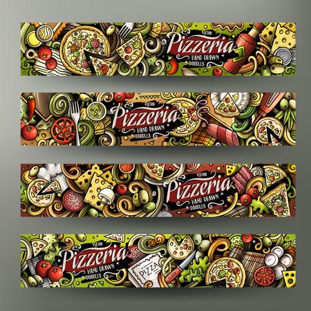 Dibujos animados lindo colorido vector dibujado a mano garabatos Identidad corporativa de pizzería. Diseño de 4 banners horizontales. Conjunto de plantillas. Todos los objetos se separan