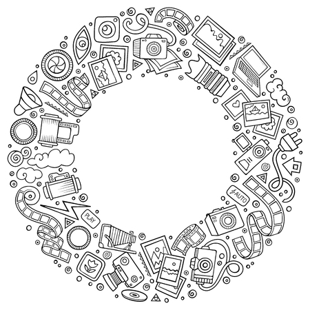 Sketchy vector hand drawn set of Photo studio cartoon doodle objects, symbols and items. Round frame composition Ilustrace