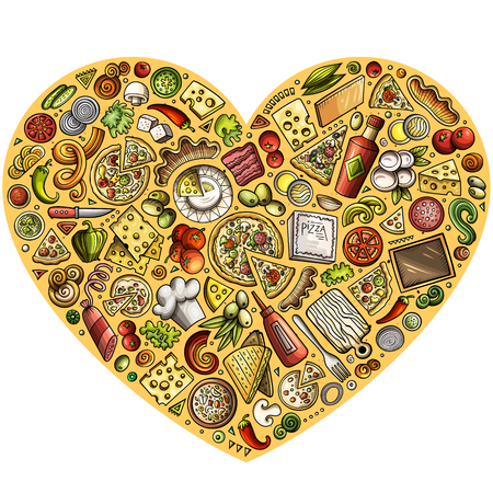 Colorful vector hand drawn set of Pizza cartoon doodle objects, symbols and items. Heart form composition