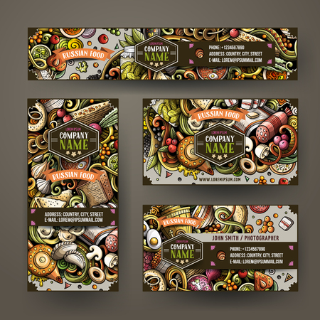 Corporate Identity vector templates set design with doodles hand drawn Russian food theme. Colorful banner, id cards, flayer design. Templates set